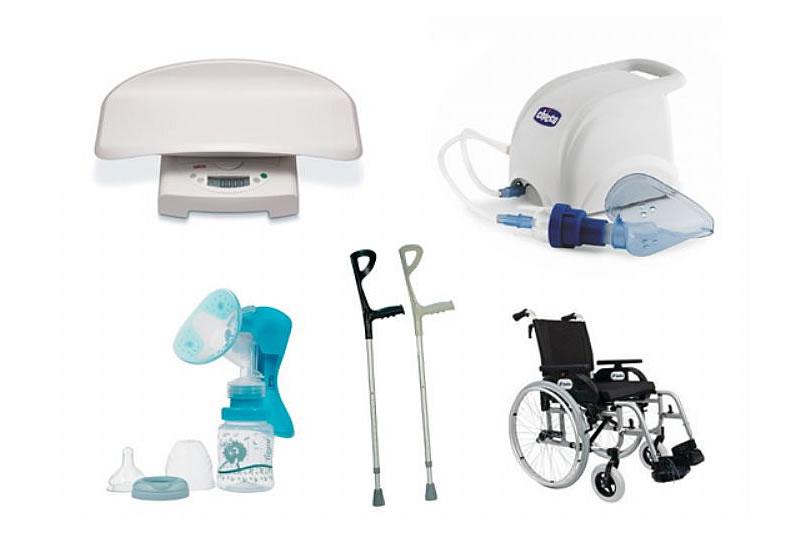 Noleggio presidi sanitari: carrozzina/stampella canadesi / asta flebo / tiralatte / sedia bagno per disabilità / bilance elettroniche per bambini